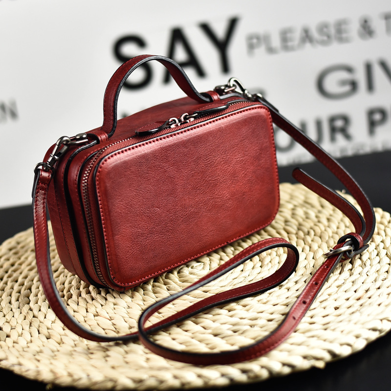 2020 new women's shoulder bag retro vegetable tanned leather small suitcase bag leather box bag ladies messenger bag square bag