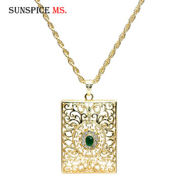 Sunspicems Morocco Women Gold Pendant Necklace Hollow Metal Arabesque Square Tags Long Chain Ethnic wedding Hip Hop Jewelry 1
