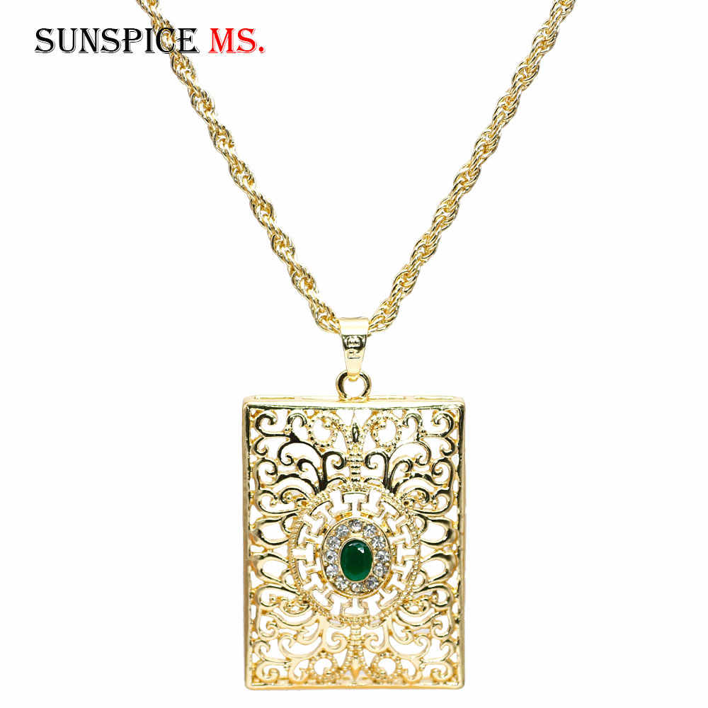 SUNSPICE MS Morocco Women Gold Pendant Necklace Hollow Metal Arabesque Square Tags Long Chain Ethnic wedding Hip Hop Jewelry