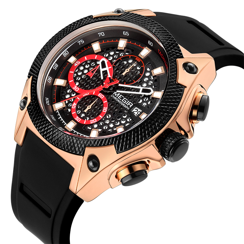 <font><b>MEGIR</b></font> Official Quartz Men Watches Fashion Sports Chronograph Watch Clock for Gentle Men Male Students RelojRelogios Hombre <font><b>2020</b></font> image