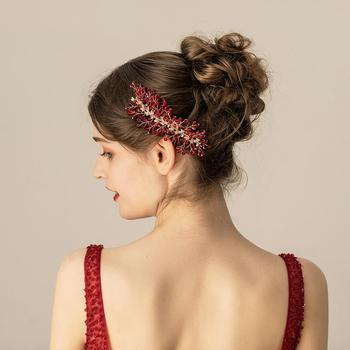 O563 Red chinese crystal headpiece bridal party hairpiece hair decoration crystal spray bridal wedding accessories недорого