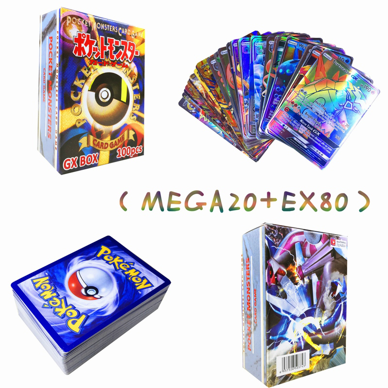 100pcs/set Pokemon All Flash Card Cover Battle Cards Does Not Repeat MEGA 20PCS +EX 80PCS Card Prop Card Child Toy Gift