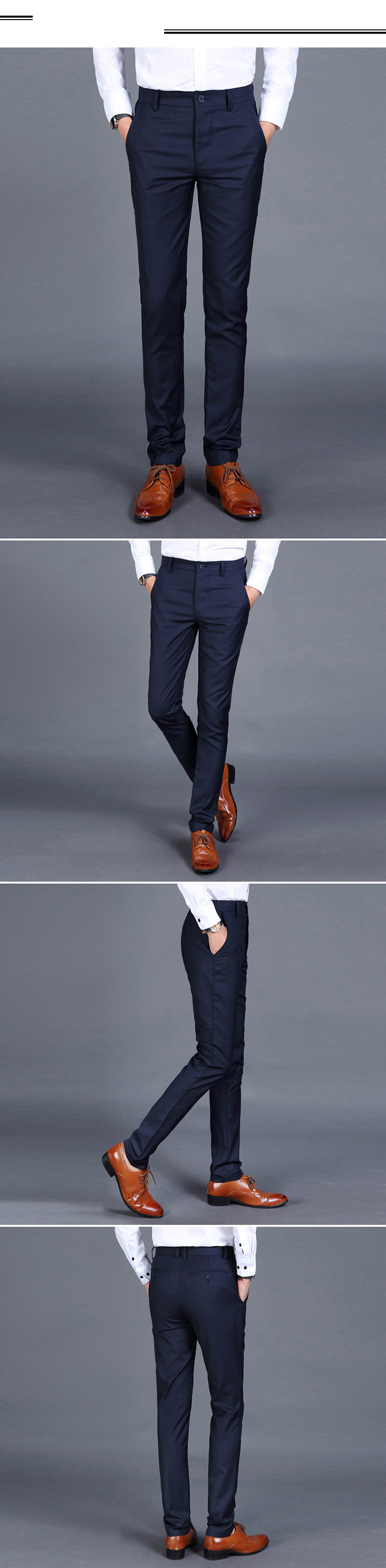Hd4ab6e436e0341578333308c0d6c780aW HCXY 2019 Summer Men's Smart Casual Pants Men Slim Straight Suit Pants Male Trousers Thin Smooth fabric Solid classic trousers