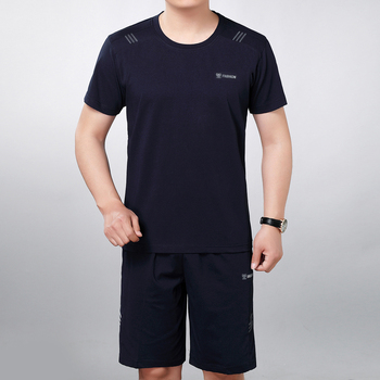 цена Men Summer Tracksuit Gray Navy Blue T-shirt And Short Suit 2 Pieces Set Male Leisure Daily Tops And Shorts Suits Sets Twinset онлайн в 2017 году