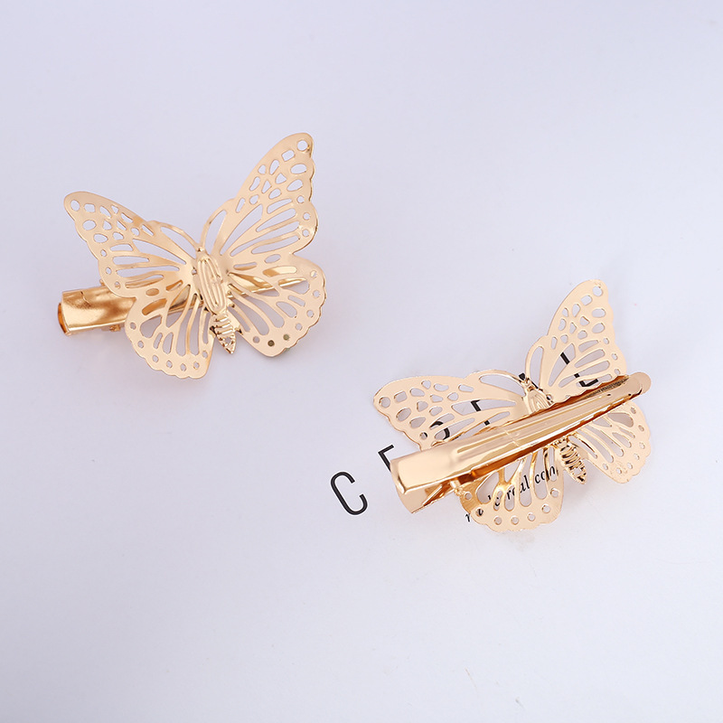 2PC Hollow Golden Butterfly Heart Star Hair Clips For Girls Retro Barrette Hair Pins Vintage Fashion Hair Styling Accessories