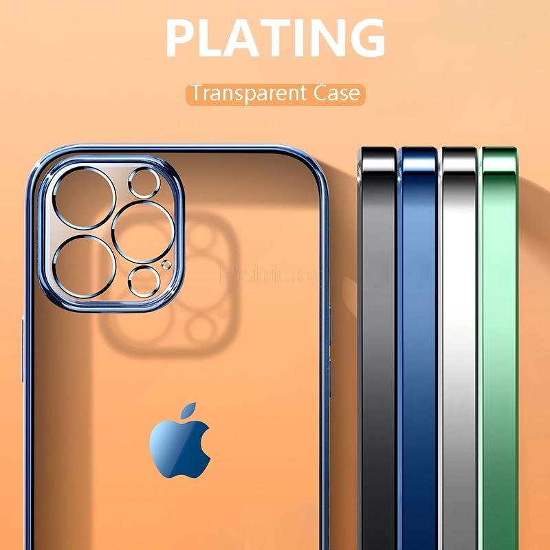 Роскошный прозрачный чехол с покрытием для iPhone 12 11 Pro Max Mini XS X XR 7 8 6 Plus SE 2020, мягкий ударопрочный прозрачный чехол из ТПУ для телефона