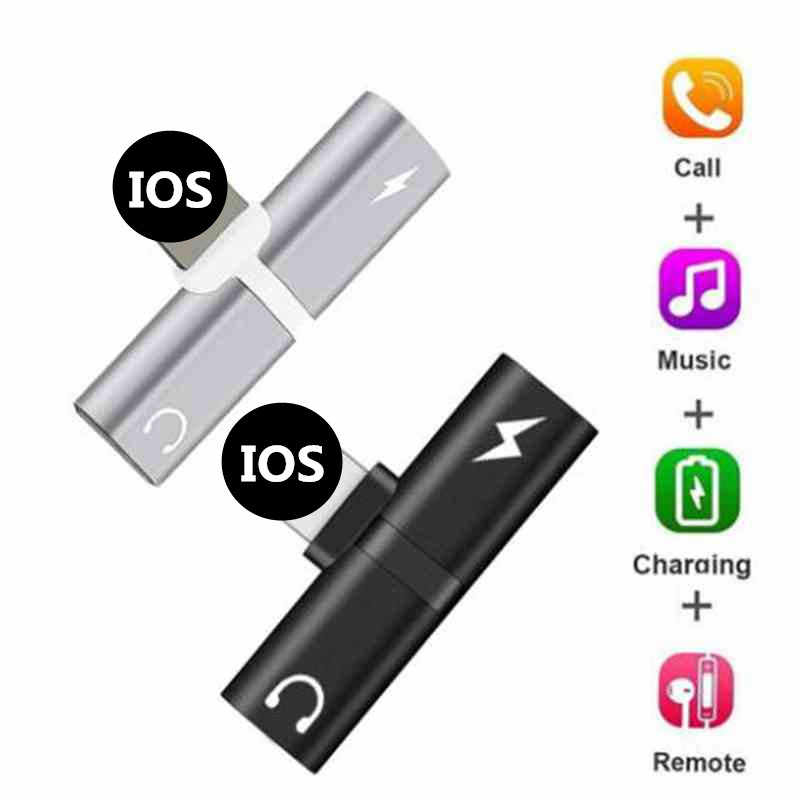 Audio Opladen Dual Adapter Voor iPhone X 10 7 8 Plus Splitter Kabel Voor Bliksem Case Oortelefoon AUX Kabel Connector converter