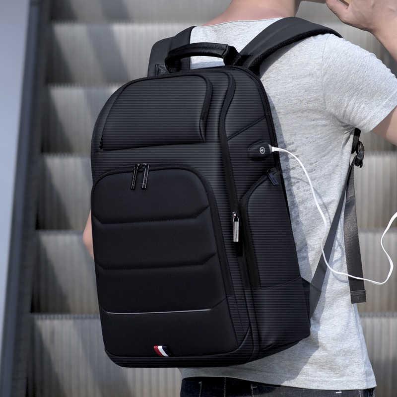 רואו גברים תרמיל תכליתי USB טעינה Wateproof תרמיל זכר עסקים גדול קיבולת נסיעות תיק 15.6 אינץ מחשב נייד תיק