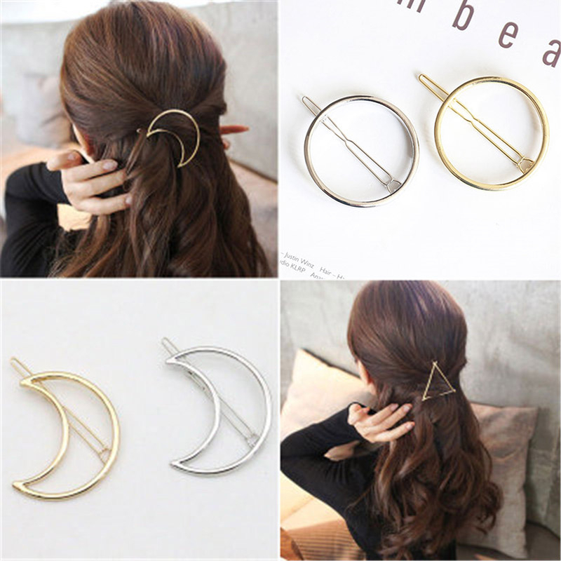 Geometric Shape Hair Clips Hair Accessories Women Fashion Simple Jewelry Punk Hollow Moon Triangle Round Gold Hairpins Barrettes