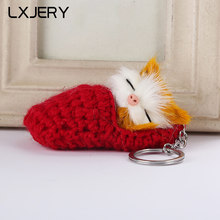 LXJERY 8 Colors Fluffy Cat Key Chain Women Car Bag Key Ring Lovely Sleeping Cat Keyring Toys Artificial Rabbit Fur Keychain(China)