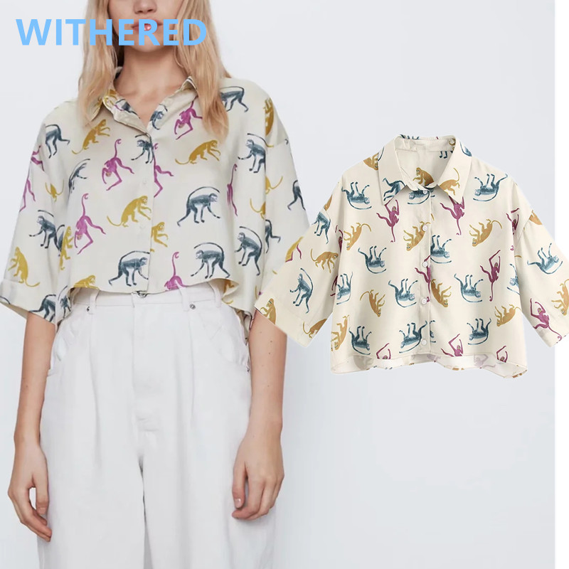 Withered High Street Monkey Printing Loose Short Blusas Mujer De Moda 2020 Kimono Shirt Blouse Women Womens Tops And Blouses
