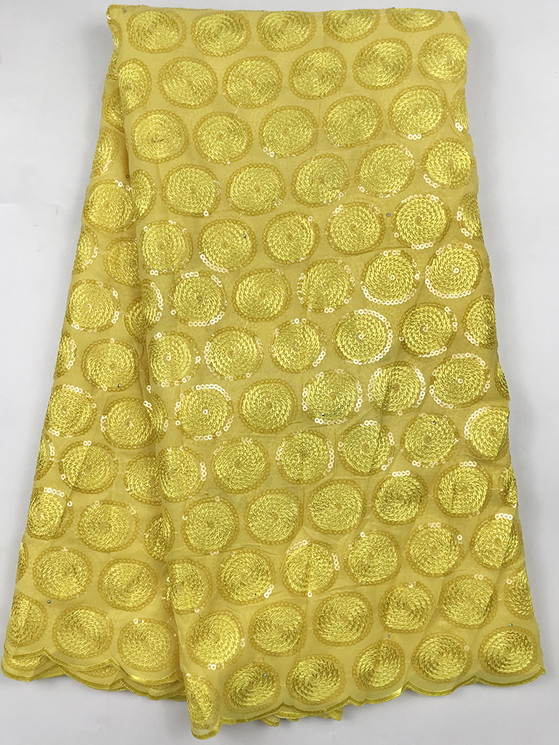 High Quality Yellow African Cotton Lace Fabric Fabric with Sequins French Mesh Lace Fabrics African Tulle Lace for Party Dress