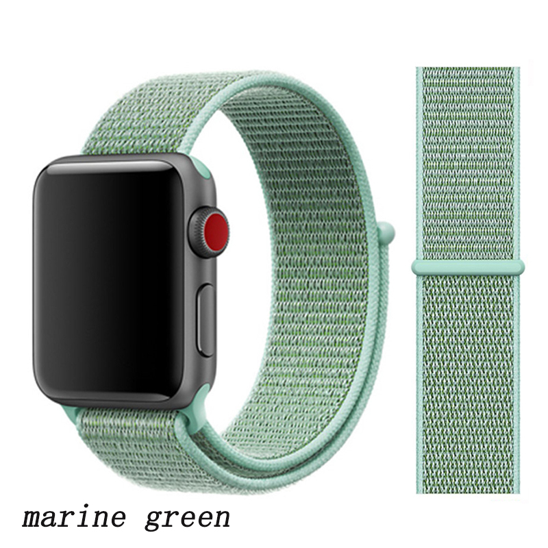 Спортивная петля ремешок apple watch band 42 мм 38 мм apple watch 4 3 band iwatch band 44 мм 40 мм correa pulseira 42 44 нейлоновый ремешок для часов - Цвет ремешка: marine green