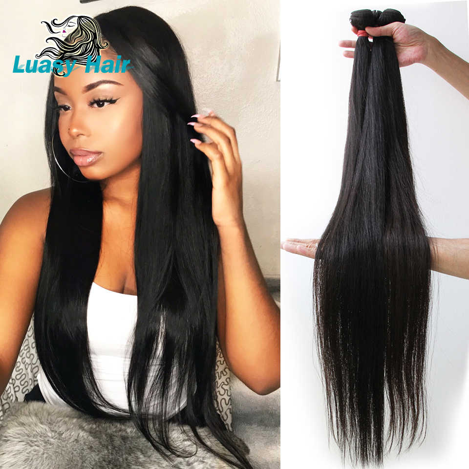 Luasy Brazilian Hair Weave Bundles Straight 100% Remy Hair Extension Natural color 30 32 34 36 38 40 inch Human Hair Bundles