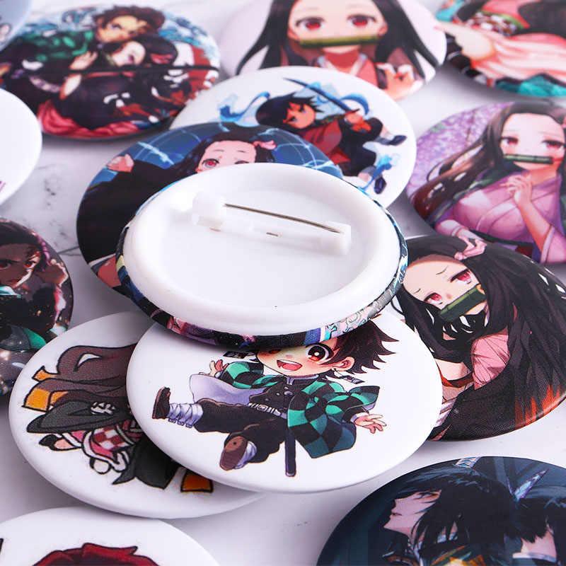12 pçs/set anime demônio slayer kimetsu não yaiba kamado tanjirou cosplay prop pino broche kamado nezuko emblemas botão broche pinos