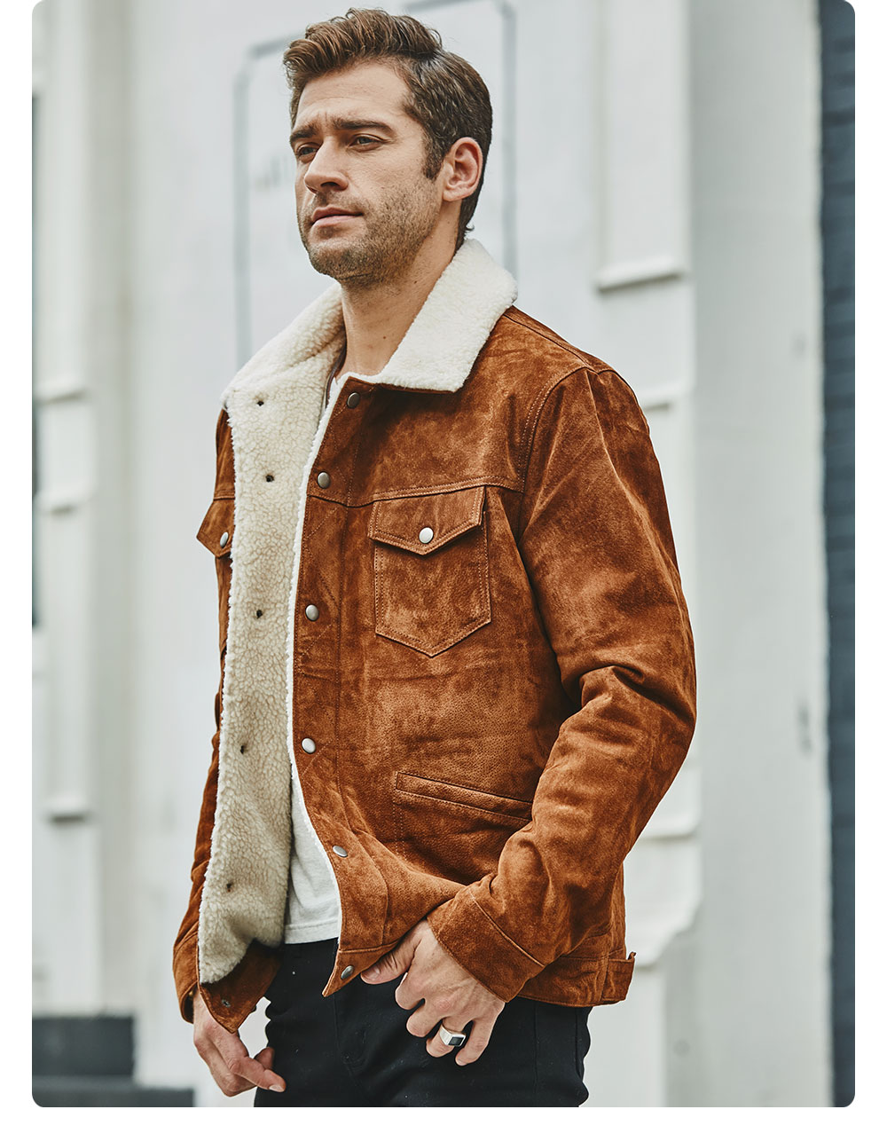 Hd4ac372f1d824a1da35a05acc78fff2eD FLAVOR New Men's Real Leather Jacket Genuine Leather With Faux Shearling Warm Coat Men