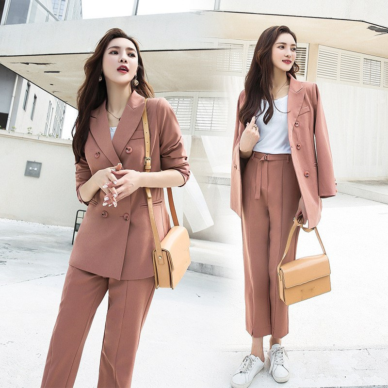Casual Soild Women Pant Suits Office Lady Women Single Breasted Blazer Jacket And Long Pants Pink Female Suit