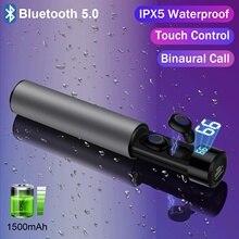 Gerçek kablosuz Bluetooth 5.0 kulakiçi TWS IPX5 kablosuz kulaklıklar su geçirmez dokunmatik Bluetooth spor kulaklık güç bankası 1500mAh