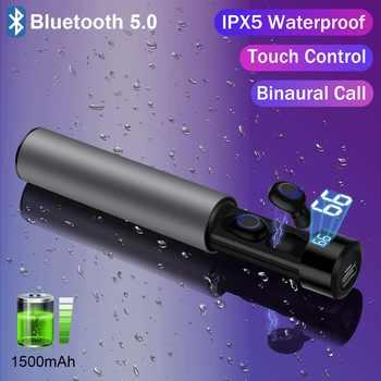 True Wireless Bluetooth 5.0 Earbuds TWS IPX5 Wireless Headphones Waterproof Touch Bluetooth Sport Earphone Power Bank 1500mAh - DISCOUNT ITEM  20% OFF All Category