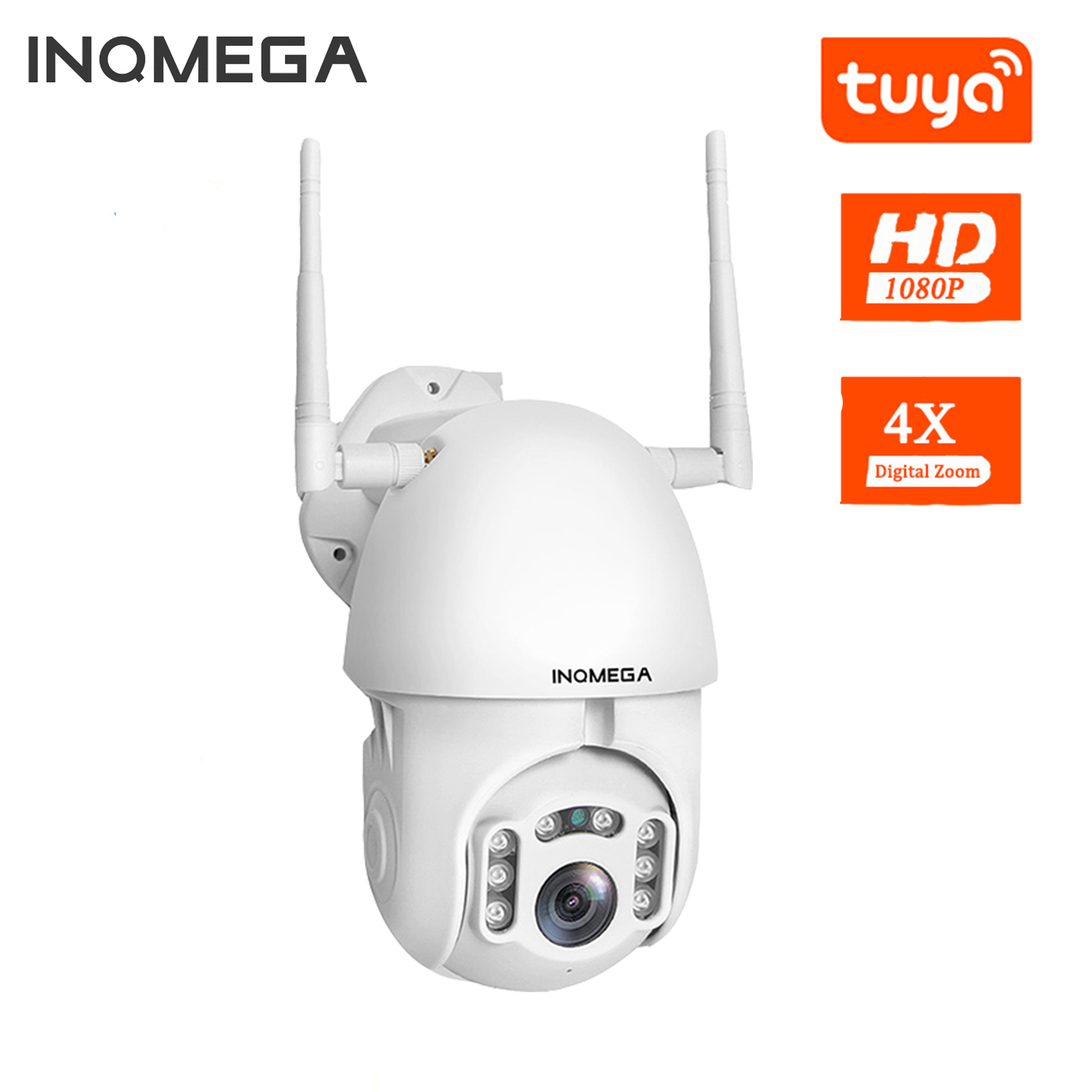 INQMEGA 1080P IP Camera WiFi Wireless Auto Tracking PTZ Speed Dome Camera Outdoor Security Surveillance Waterproof Camera TUYA