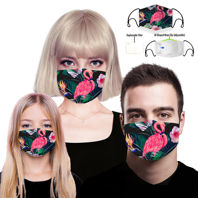 Flamingo Reusable Face Mouth Mask PM2.5 Filter Anti-Dust Fog Pollution Protective Washable Woman Man Kids Flower Cycling Masks