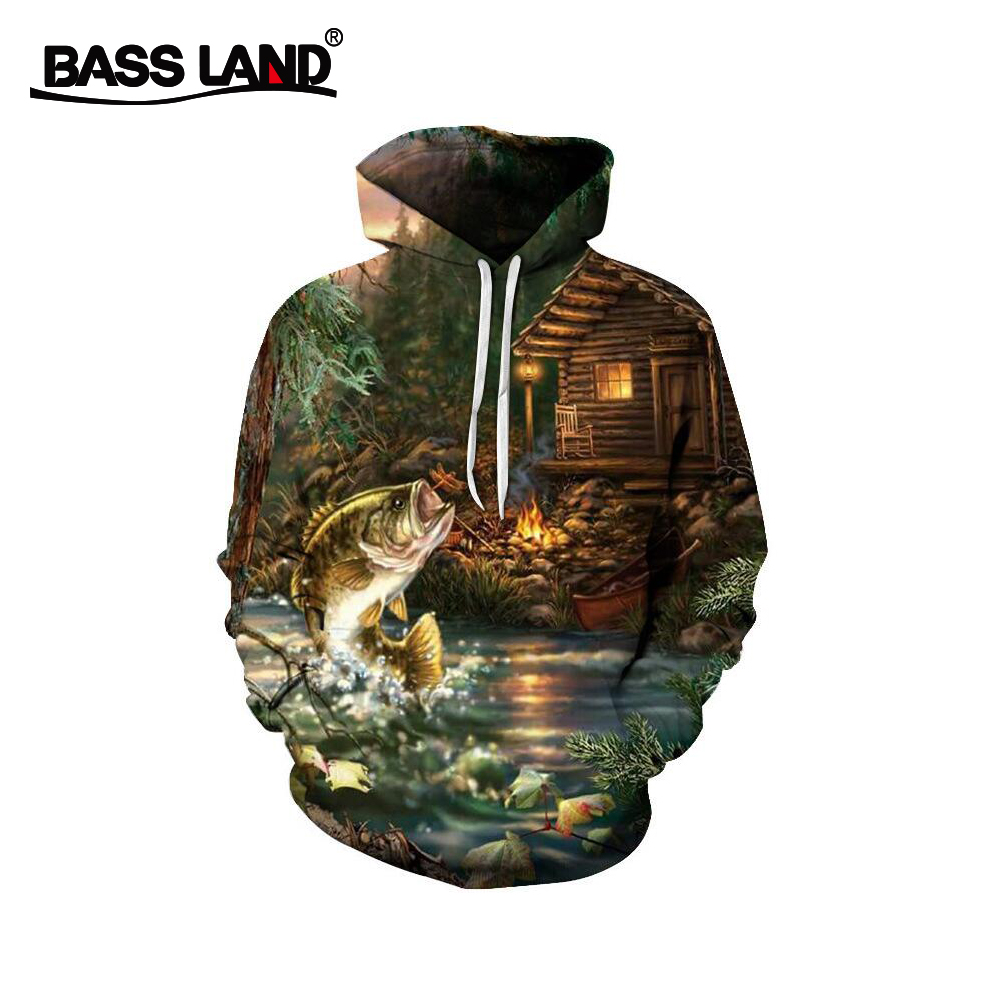 Bassland New Fishing Clothes Light Weight Soft Sunscreen 3d Digital Printing Polyester Fiber Hooded Winter Sea Fishing Tackle