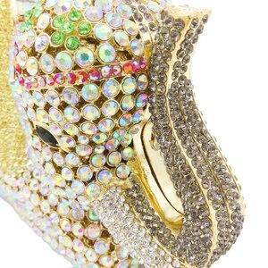 Image 4 - Женская сумка кошелек Boutique De FGG, с золотыми кристаллами и 3d рисунком слона, металлическая, для свадебного и выпускного бала