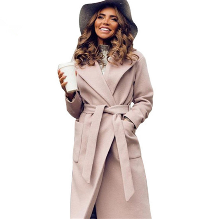MVGIRLRU Elegant Long Women's Coat Lapel 2 Pockets Belted Jackets Solid Color Coats Female Outerwear