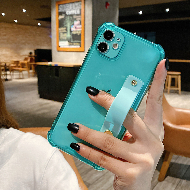 Wrist Strap Clear Phone Case For iPhone 12 11Pro Max XR XS Max 7 8 Plus X XS 11Pro SE 2020 Soft TPU Shockproof Holder Back Cover 3