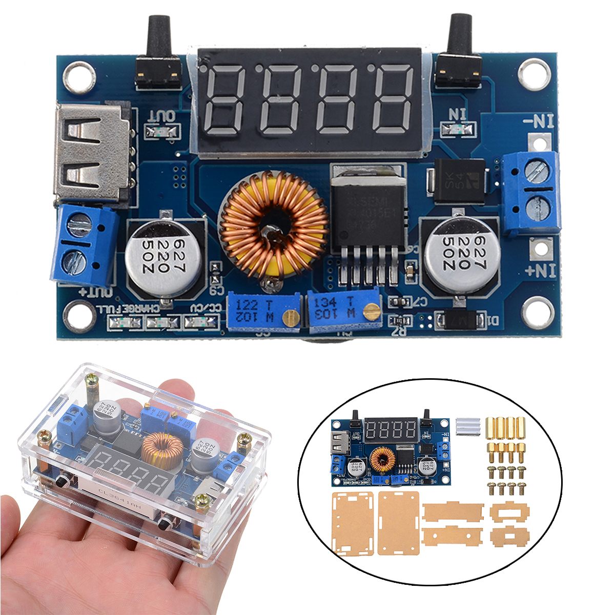 New DC-DC Adjustable 5-36V 5A Voltage Regulator Step Down Converter Module Kit  Electronic Components 68.2*38.8*15mm