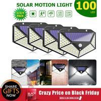100/144 led de quatro lados energia solar luz 3 modos 120 graus sensor de movimento ângulo lâmpada de parede à prova dwaterproof água ao ar livre quintal jardim lâmpadas Lâmpadas solares     -