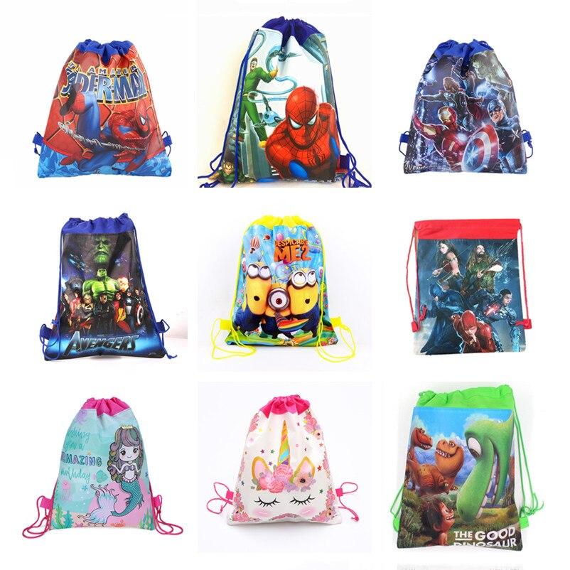 1Pcs Kids Favors Mermaid Theme Mochila Birthday Party Avengers Mario Pokemon Unicorn Baby Shower Decorate Drawstring Gifts Bags