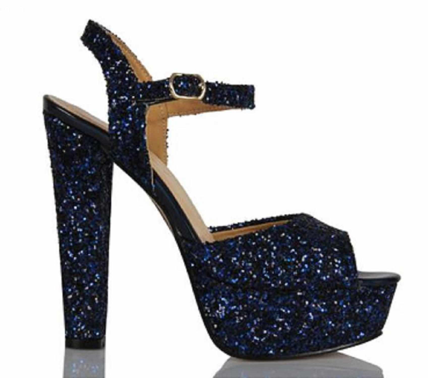 Mst-1027 Navy Blue Glass Fracture ผู้หญิง Elegant ชี้ Toe รองเท้าส้นสูงคริสตัลรองเท้าส้นสูง Slingback 35-40