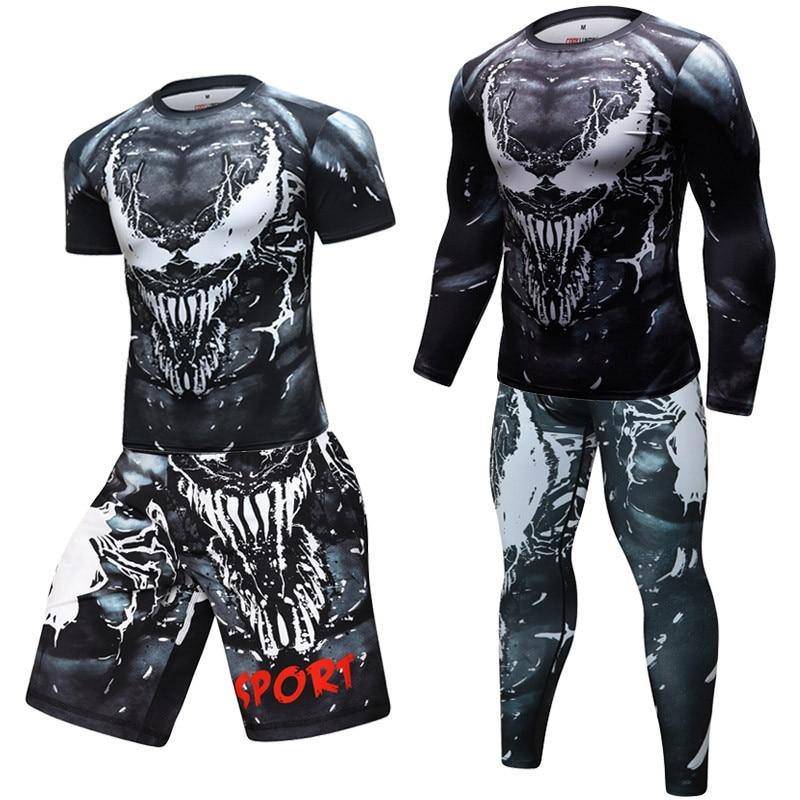 Compression T Shirts+Pants Men Gym High-elasticity BJJ MMA Rashguard Rash Guard Fitness Tracksuit Boxing Jerseys Sport Suit