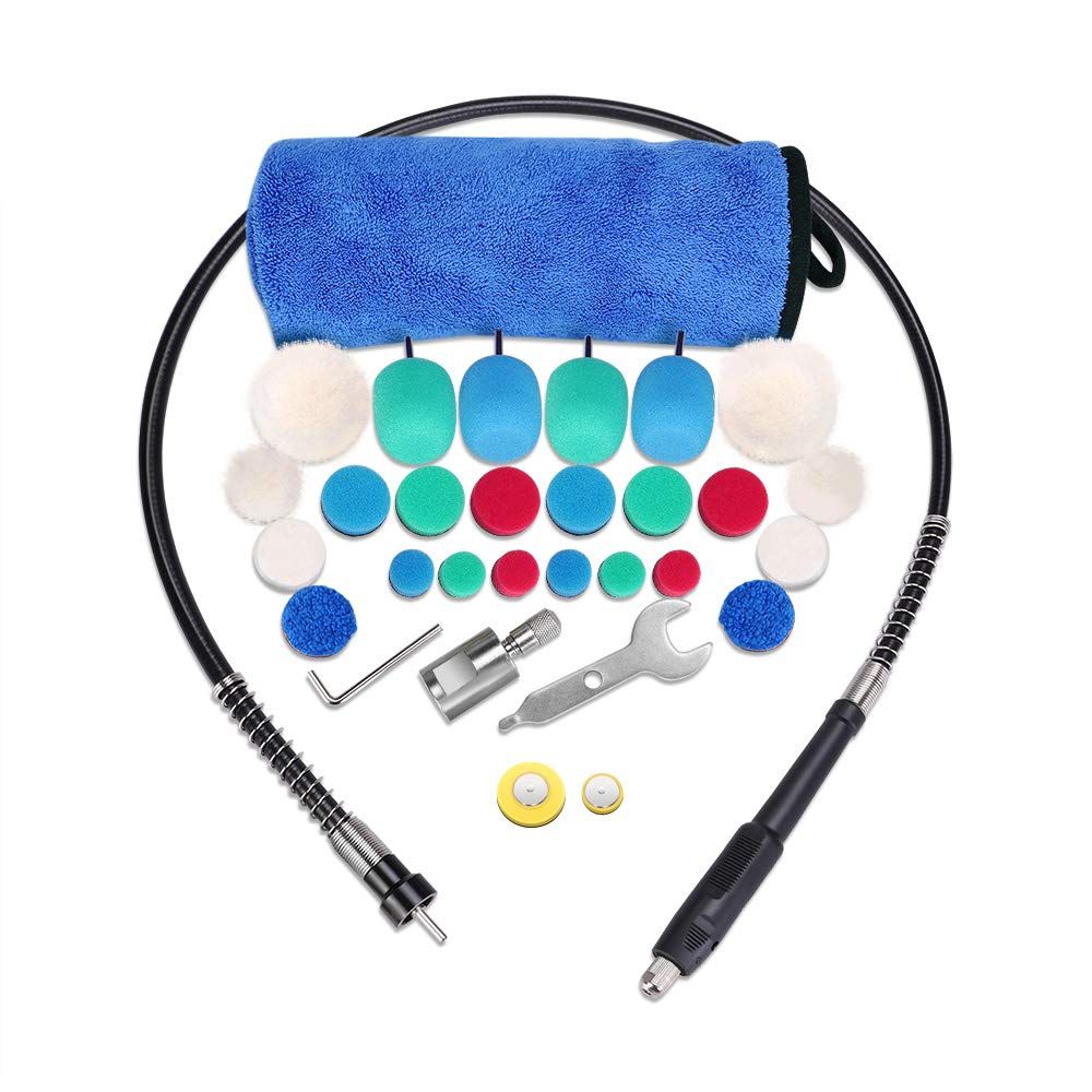 SPTA Mini Detail Polisher With 30pcs Accessorizes Kit Pads Polishing Foam Finish Pad Kit, Used On Rotary Tools/Polisher
