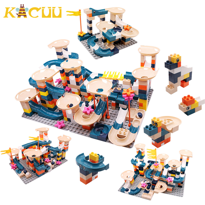 Big Size Classic 332PCS Marble Race Run Blocks Plastic Assembly DIY Building Block Funnel Slide Blocks Toys For Children Gift