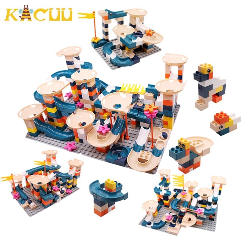Big Size Classic 332PCS Marble Race Run Blocks Plastic Assembly DIY Building Block Funnel Slide Blocks Toys For Children Gift