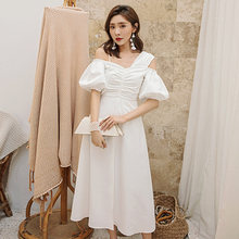 Yigelila осеннее Новое поступление белое платье с коротким рукавом