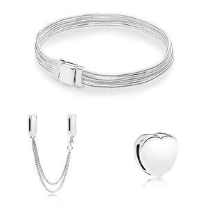 Image 3 - S925 כסף צבע בטיחות שרשרת לב בצורת חרוזים Fit מקורי צמיד מתנת סט לנשים חרוז קסם צמיד DIY תכשיטים