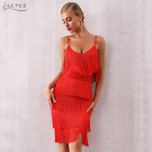 Adyce 2020 חדש קיץ נשים תחבושת שמלה סקסי V צוואר גדילים פרינג אדום מועדון שמלת Vestidos אלגנטי Midi סלבריטאים המפלגה שמלה