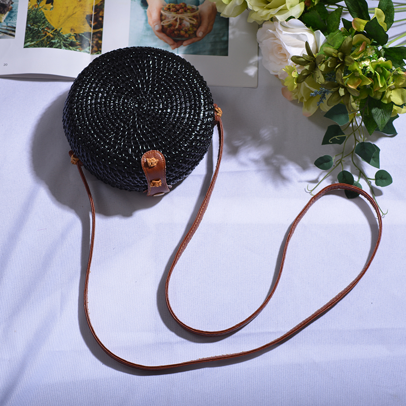 Straw Crossbody Bags with Leather Strap
