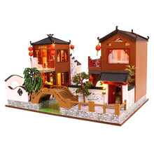 Wooden Toy Diy Dollhouse Miniature Dollhouse Handmade Doll House Furniture Puzzle Assemble 3D Miniaturas Model Kit Toys for Chil