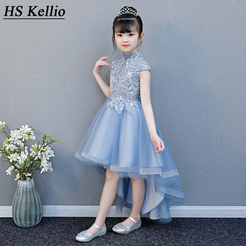 Flower     Girl     Dresses   For Wedding Party Princess Little   Girl   Pageant   Dress   High Low Blue Color