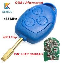 KEYECU OEM genuino/posventa remoto coche azul 3 botón 433MHz 4D63 para Ford Transit WM VM 2006 2014 P/N: 6C1T15K601AG FO21
