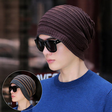 USPOP 2019 New autumn hat for men knitted skullies multifunctional hats striped knit beanies