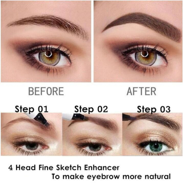 5 Colors 3D Microblading Eyebrow Tattoo Pen 4 Fork Fine Sketch Liquid Eyebrow Pencil Waterproof Eyebrow Tint Makeup TSLM1 3