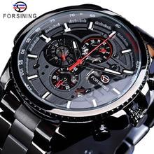 Forsining Hot Sale Mechanical Automatic Mens Watch Black Sta