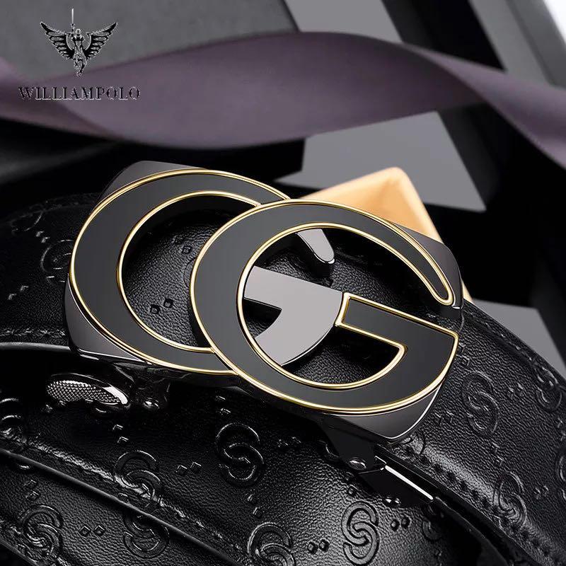 Leather Belt Fashion Automatic Buckle Black Genuine Leather Belt Men's Belts Cow Leather Belts For Men 3.5cm Width