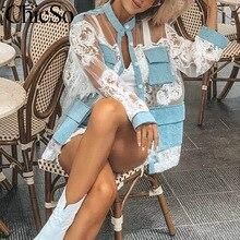 MissyChilli de encaje blanco patchwork denim camisa Streetwear de malla transparente pantalón vaquero floral blusa verano sexy club embroiderytop