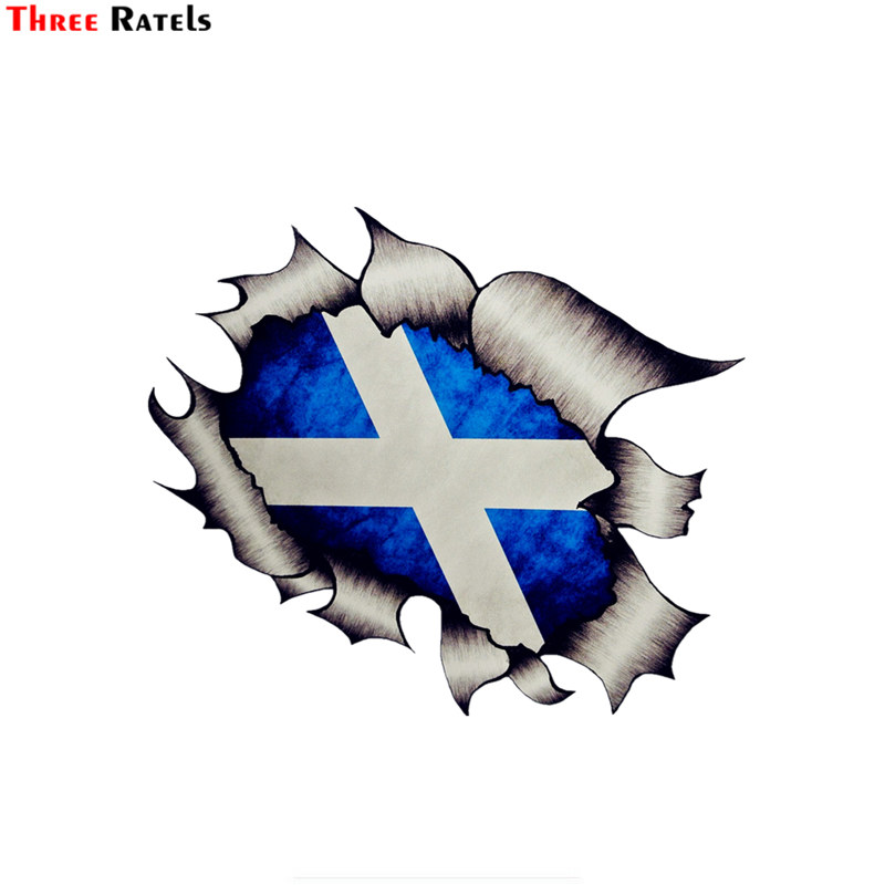 Three Ratels FTC-728# 3d Large Ripped Torn Design Shaded Effect Splat Design With Scotland Scottish Flag Motif Vinyl Car Sticker